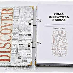 białe scrapbooking albumy planner planer podróży, personalizowany