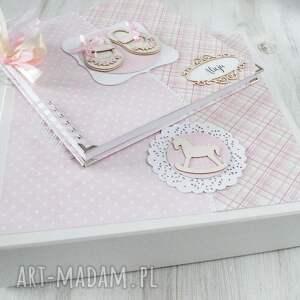niesztampowe scrapbooking albumy album różowy w pudełku