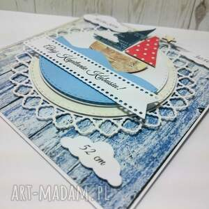 niebieskie scrapbooking kartki narodziny ahoj na świecie mały marynarzu!