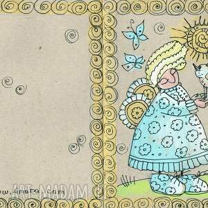turkusowe scrapbooking kartki ptak aniołek z ptakiem