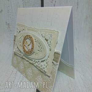 ręczne wykonanie scrapbooking kartki kartka ażurowa pamiątka chrztu świętego