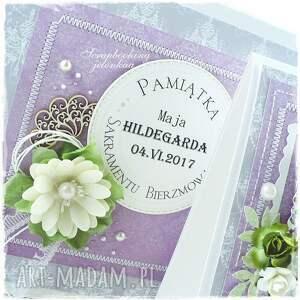 bierzmowanie scrapbooking kartki fioletowe - kartka