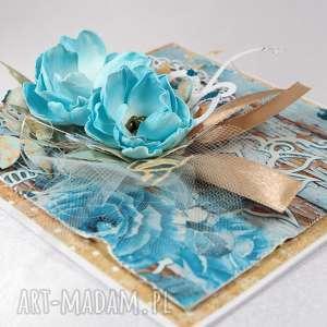 beżowe scrapbooking kartki błękitna