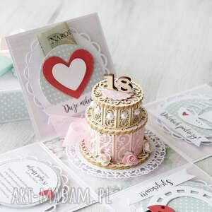różowe scrapbooking kartki urodziny box eksplodujące pudełko