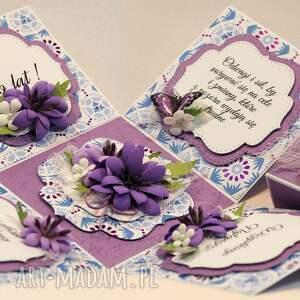fioletowe scrapbooking kartki kartka box z niespodzianką
