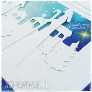 pomysł na święta upominki niebieskie boże narodzenie - kartka