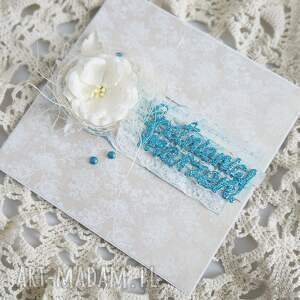 turkusowe scrapbooking kartki kartka urodzinowa brokatowa prostota