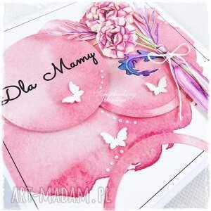 różowe scrapbooking kartki mama bukiet w butelce - kartka dla mamy