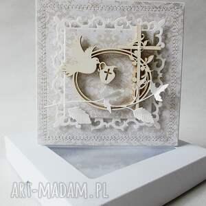 białe scrapbooking kartki chrzest - w pudełku