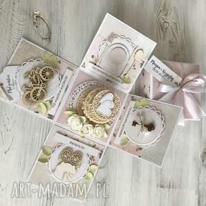 pudełko scrapbooking kartki różowe z niespodzianką - na ślub