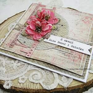 beżowe scrapbooking kartki dla babci dla i dziadka - kartka