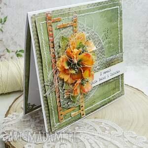 babcia scrapbooking kartki pomarańczowe dla babci i dziadka - kartka z
