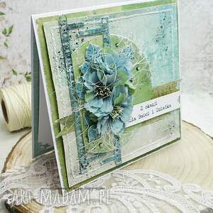 babcia scrapbooking kartki turkusowe dla babci i dziadka - kartka w