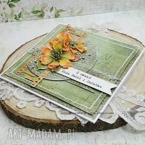 zielone scrapbooking kartki dla babci i dziadka - kartka z