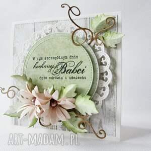 beżowe scrapbooking kartki życzenia dla babci