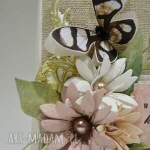 białe scrapbooking kartki babcia dla babci - kartka w pudełku