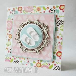 białe scrapbooking kartki chrzest dla dziewczynki