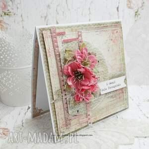 dzień-nauczyciela scrapbooking kartki różowe dla nauczyciela - kartka w pudełku