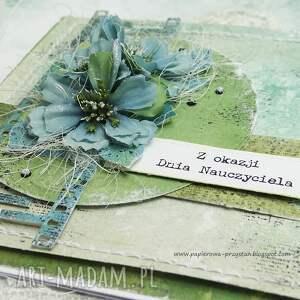 turkusowe scrapbooking kartki szkoła dla nauczyciela - kartka w pudełku