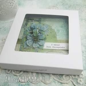 dzień-nauczyciela scrapbooking kartki zielone dla nauczyciela - kartka w pudełku