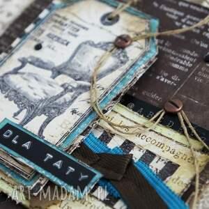 turkusowe scrapbooking kartki dzień-taty dla taty