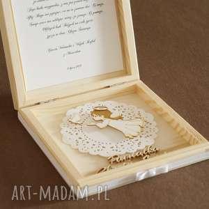 pudełko scrapbooking kartki białe drewniane na chrzest