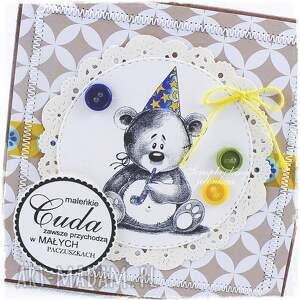miś scrapbooking kartki żółte dziecięca kartka z misiem #9