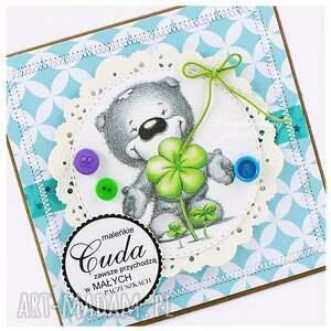zielone scrapbooking kartki chłopiec dziecięca kartka z misiem #1