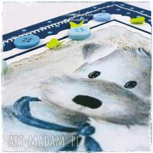 pies scrapbooking kartki niebieskie dziecięca kartka z pieskiem
