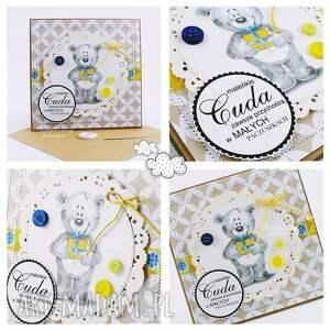 handmade scrapbooking kartki narodziny dziecięca kartka z misiem #5
