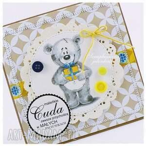 żółte scrapbooking kartki paczka dziecięca kartka z misiem #5