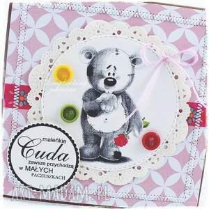 miś scrapbooking kartki różowe dziecięca kartka z misiem #8