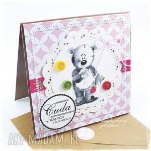 scrapbooking kartki róża dziecięca kartka z misiem #8
