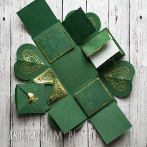 zielone scrapbooking kartki exploding box warstwowy na każd&#261