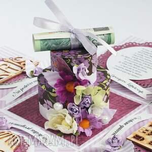 różowe scrapbooking kartki box exploding ślubny - w fiolecie