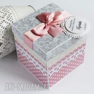 pudełko scrapbooking kartki exploding box - pamiątka chrztu