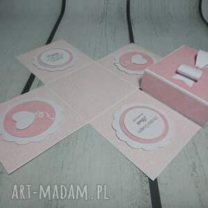 różowe scrapbooking kartki komunia exploding box / eksplodujące