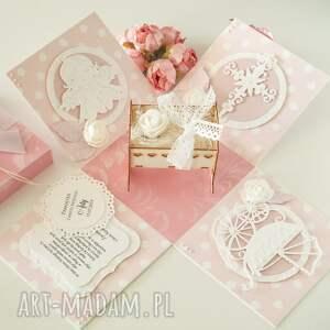 białe scrapbooking kartki exploding box dla dziewczynki