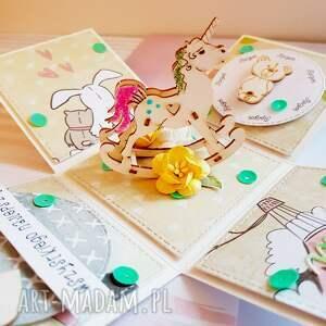różowe scrapbooking kartki dziecko exploding box na roczek - konik