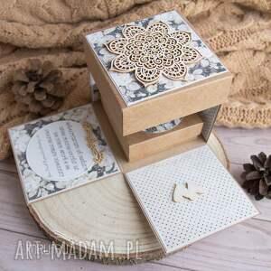 pamiątka ślubu scrapbooking kartki beżowe exploding box ślubny, wyjątkowy