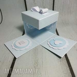 niebieskie scrapbooking kartki podziękowanie exploding box / eksplodujące