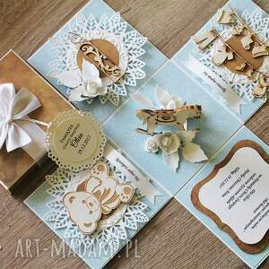 białe scrapbooking kartki box exploding - pamiątka chrztu