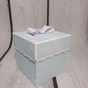 niebieskie scrapbooking kartki chrzest exploding box / eksplodujące