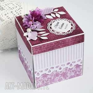 awangardowe scrapbooking kartki exploding box - pamiątka ślubu tort
