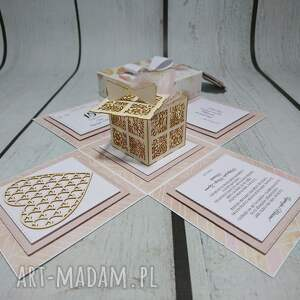 ślub scrapbooking kartki beżowe exploding box / eksplodujące