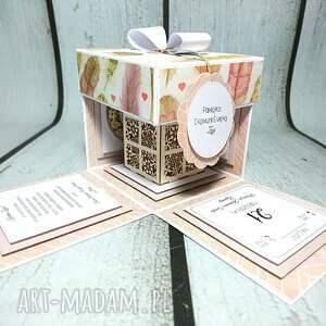 różowe scrapbooking kartki ślub exploding box w piórach