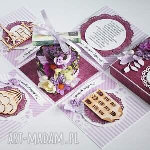 pudełko scrapbooking kartki exploding box - pamiątka ślubu tort