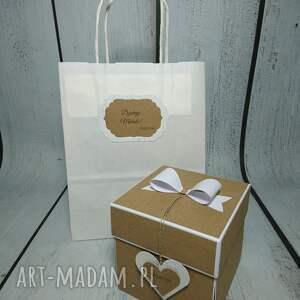 beżowe scrapbooking kartki wesele exploding box / eksplodujące