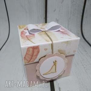 białe scrapbooking kartki wesele exploding box / eksplodujące