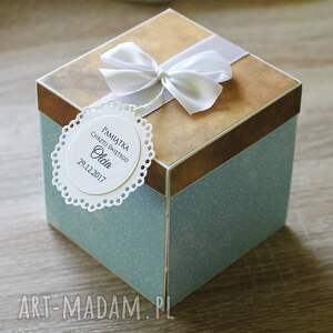 handmade scrapbooking kartki exploding box - pamiątka chrztu